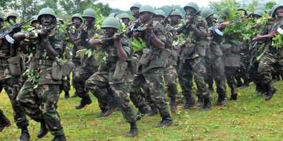 Soldiers in military drill