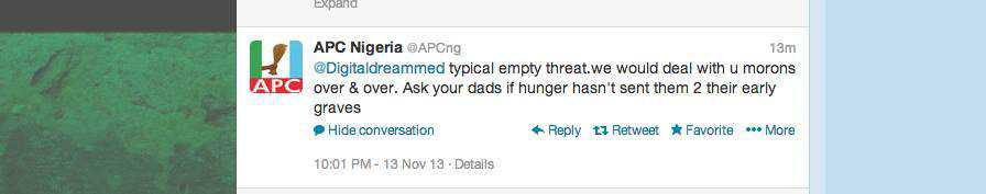 APC Tweet to Radio Biafra