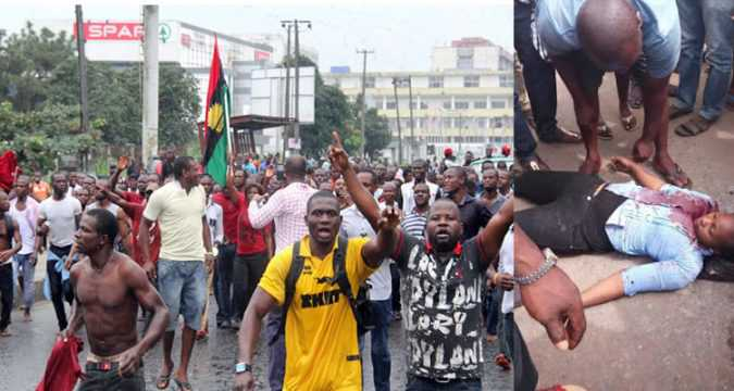 Biafrans Protests younglady killed