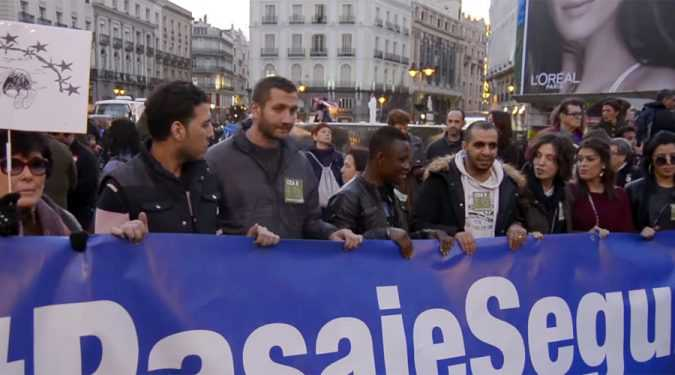 Thousands Protest in Spain over Turkey refugee deal